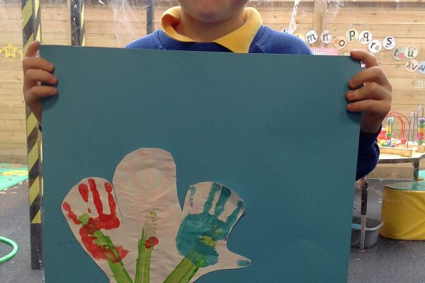 Pupil pleased with his artwork