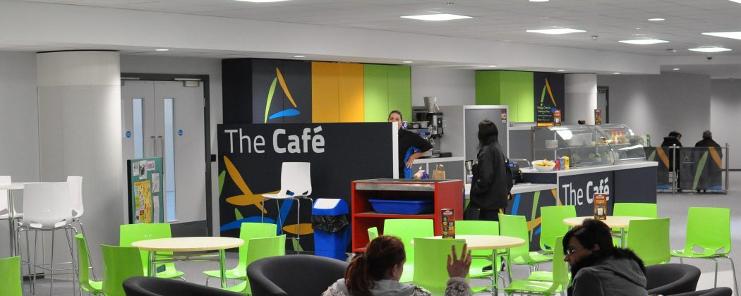 The cafe seating area